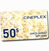 Concours gratuits :  Une des deux cartes-cadeau de 50 $ Cinémas Cineplex